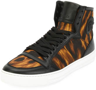 Versace Men's Flame-Pattern High-Top Sneakers