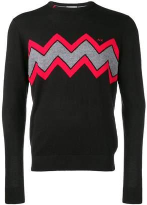 Sun 68 zig-zag instarsia sweater