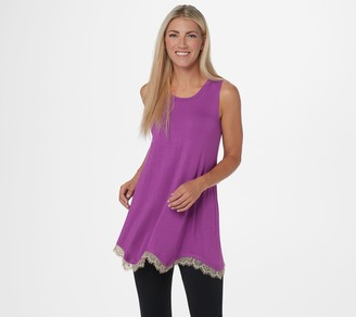 Logo By Lori Goldstein LOGO Layers by Lori Goldstein Knit Tank w/ Rollercoaster Lace Hem