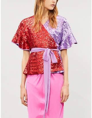 KITRI Ladies Purple and Red Alexis Frill Sequin-Embellished Top