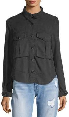 Pleated Back Button-Down Shirt