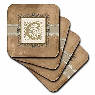 3dRose C Initial Vintage Elegant Vines and Flowers in Sepia and Pewter Look, Soft Coasters, set of 8