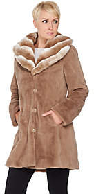 Dennis Basso Faux Fur Coat with Removable Hoodand Collar