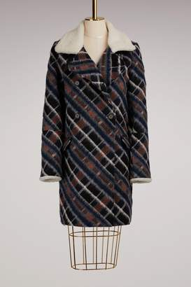 Kenzo Wool Coat with Fur Collar