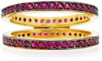 Joanna Laura Constantine Gold-Plated Ruby Crisscross Ring