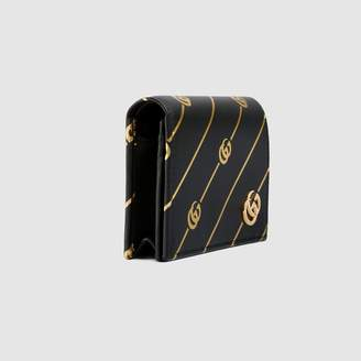 Gucci Leather card case with Double G stripe
