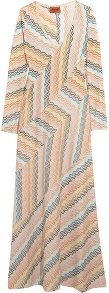 Missoni - Paneled Metallic Crochet-knit Maxi Dress - Peach