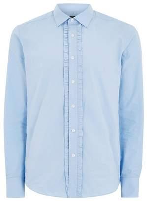 Topman Mens Light Blue Pleat Placket Long Sleeve Shirt