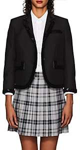 Thom Browne WOMEN'S CLASSIC EMBELLISHED WOOL-MOHAIR THREE-BUTTON BLAZER - BLACK SIZE 40 IT