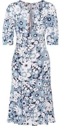 Michael Kors Fluted Floral-Print Silk Dress