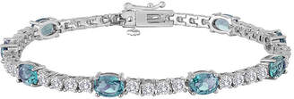 JCPenney FINE JEWELRY Sterling Silver Over Brass Genuine Blue Topaz and Cubic Zirconia Tennis Bracelet