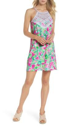 Lilly Pulitzer R) Pearl Lace Halter Neck Shift Dress