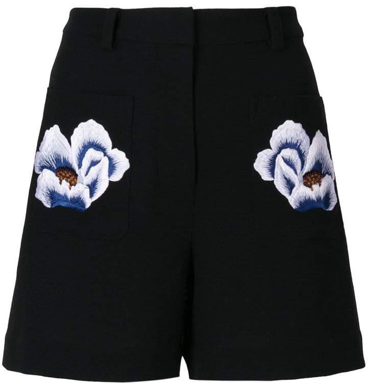 floral patch shorts