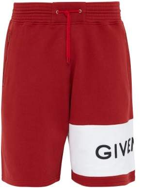 Givenchy Logo Embroidered Cotton Shorts - Mens - Red