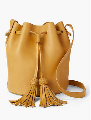 Isabella Collection AND/OR Leather Whipstitch Drawstring Bucket Bag
