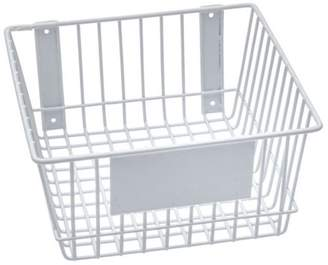 """RackEm Racks Rack'Em White Wire Basket Mount Anywhere 12"""" x 12"""" x 6"""" with label plate for your storage and organizational needs."""