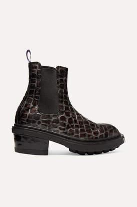 Eytys Nikita Croc-effect Leather Ankle Boots - Dark gray