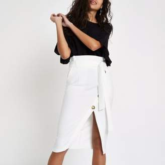 River Island Womens White paperbag button front pencil skirt