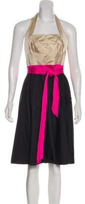 Valentino Colorblock Halter Dress