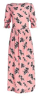 Baum und Pferdgarten Women's Romance & Rituals Aiden Floral-Print Puff-Sleeve Stretch-Silk A-Line Maxi Dress