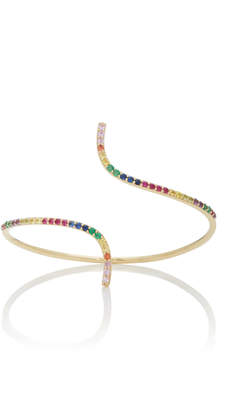 The Last Line Curved 14K Yellow Gold And Multi-Stone Bracelet