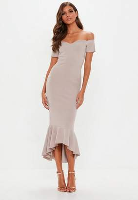 Missguided Gray Bardot Fishtail Hem Midi Dress