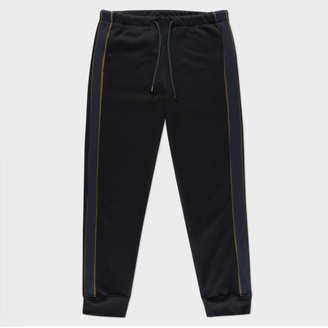 Men's Black Loopback-Cotton Sweatpants With Contrast Side-Stripes $180 thestylecure.com
