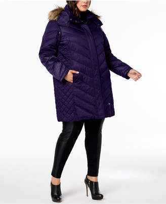 f9742b68f1f6 Kenneth Cole Plus Size Faux-Fur-Trim Quilted-Panel Puffer Coat