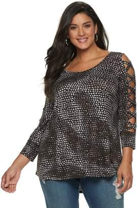 fc41a299478fc JLO by Jennifer Lopez Plus Size Strappy-Sleeve Top