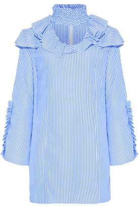 Walter W118 By Baker Ahjay Ruffle-Trimmed Striped Poplin Mini Dress