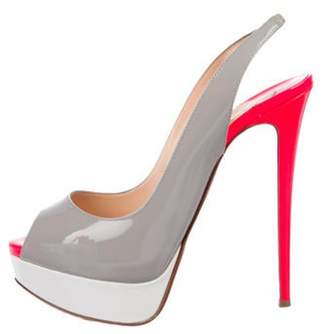 Christian Louboutin Patent Leather Color Block Slinbgback Sandals Grey Patent Leather Color Block Slinbgback Sandals