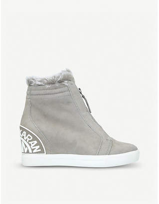 DKNY Connie suede wedge trainers