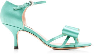 Rochas Satin Bow Mid Heel Sandals