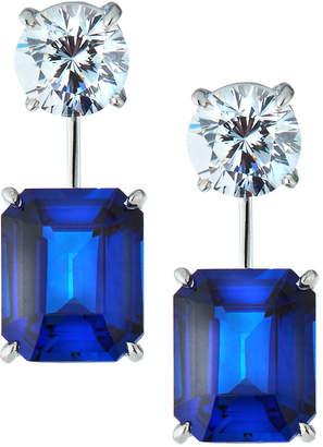FANTASIA Cubic Zirconia Asscher Drop Earrings, Blue