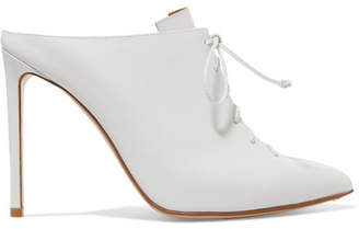 Francesco Russo Lace-up Leather Mules - White