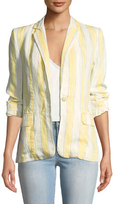 Frame Striped Linen One-Button Blazer