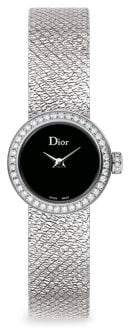 Christian Dior La D De 19MM Black Satine Diamond Watch