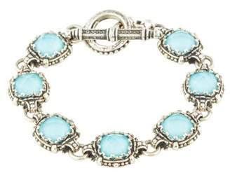 Konstantino Rock Crystal Quartz & Turquoise Doublet Link Bracelet