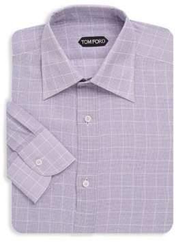 Tom Ford Windowpane Cotton Dress Shirt