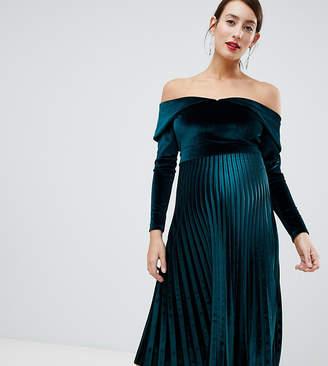 Asos DESIGN Maternity pleated velvet bardot midi dress