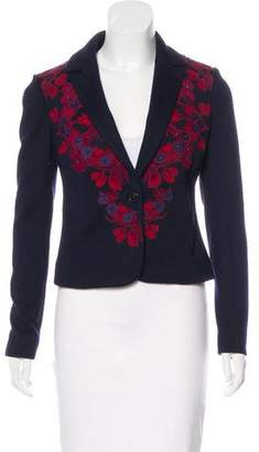Tory Burch Embroidered Wool-Blend Blazer