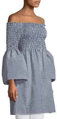 Max Studio Off-The-Shoulder Bell-Sleeve Gingham Dress
