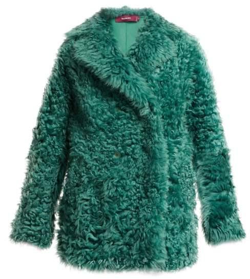 Sies Marjan Double Breasted Shearling Coat - Womens - Dark Green