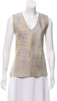 Ann Demeulemeester Distressed Leather Top