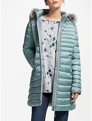 Gerry Weber Hooded Faux Fur Trim Quilted Coat, Jade