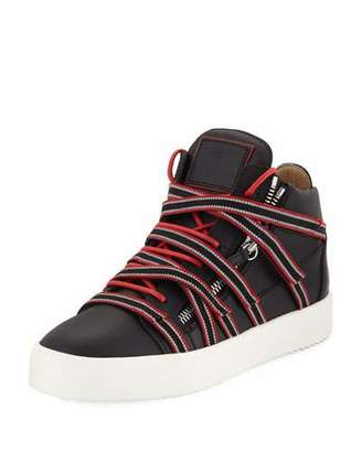Giuseppe Zanotti Men's Multi-Strap with Zipper and Bands Mid-Top Sneaker