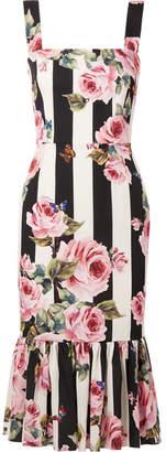Dolce & Gabbana - Printed Silk-blend Midi Dress - White