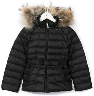 Burberry fur hooded padded jacket