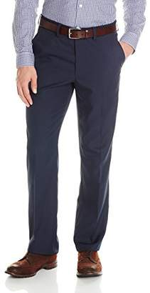 Haggar Men's Performance Micro Solid Gabardine Straight-Fit Plain-Front Dress Pant