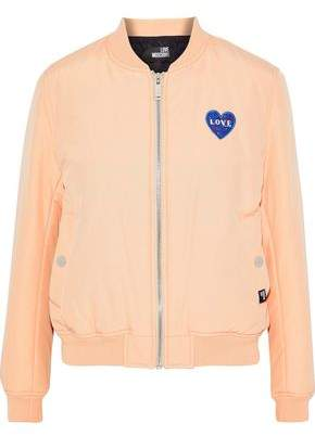 Love Moschino Appliquéd Cotton-Blend Faille Bomber Jacket